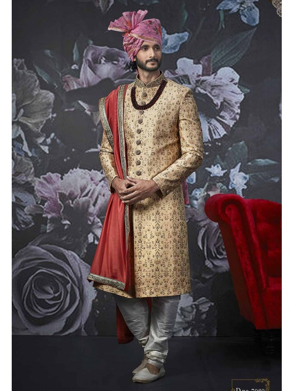 Golden Colour Men's Sherwani.