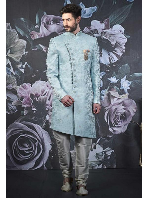 Sky Blue Colour Men's Indo Sherwani.