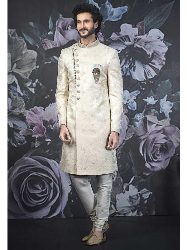 Cream Colour Brocade Silk Designer Indo Sherwani.
