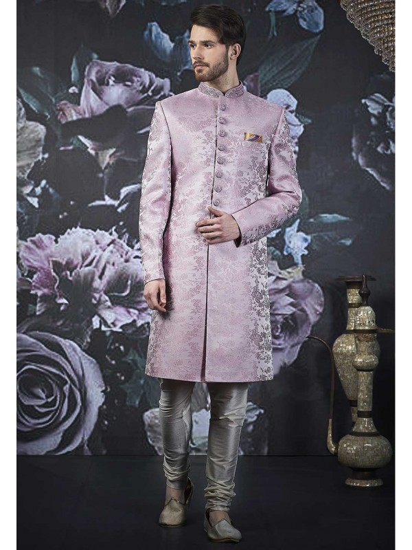 Purple Colour Men's Indo Sherwani.