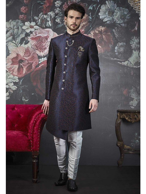 Blue Colour Imported Fabric Men's Indowestern.