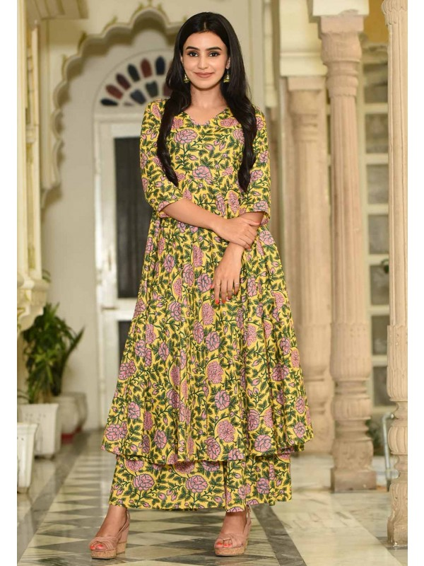 Golden,Yellow Colour Stylish Designer Kurti.