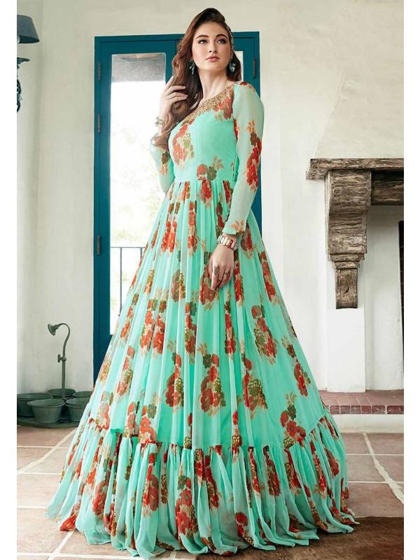 Green Colour Designer Indowestern Gown.