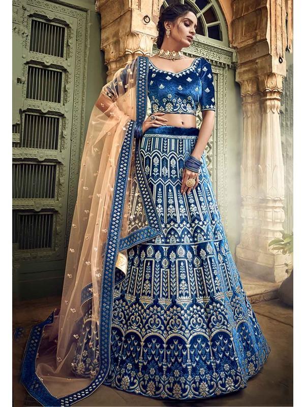 Blue Colour Velvet Lehenga Choli.