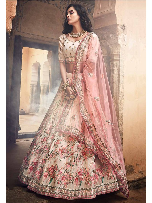 Off White Colour Bridal Lehenga Choli.
