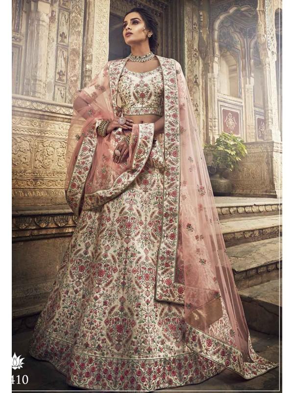 White Colour Indian Wedding Lehenga Choli.