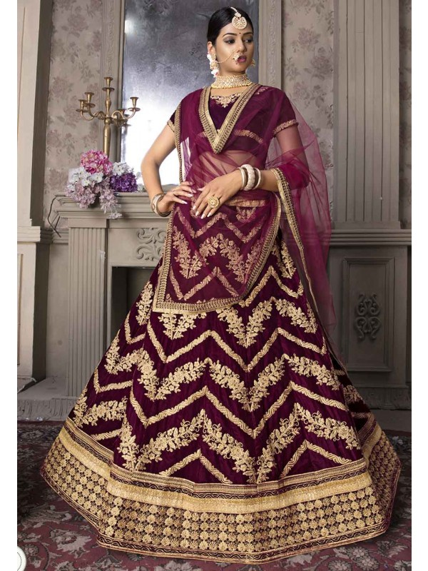 Wine Colour Indian Designer Lehenga Choli.