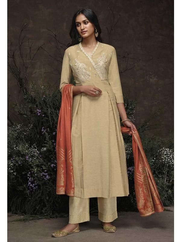 Beige Colour Silk Salwar Kameez.