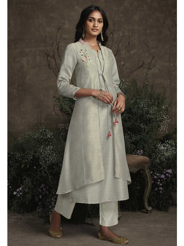 Grey Colour Silk Designer Kurti.