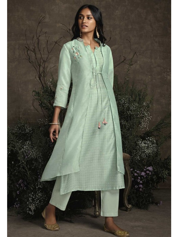 Long Designer Kurti Light Green Colour.