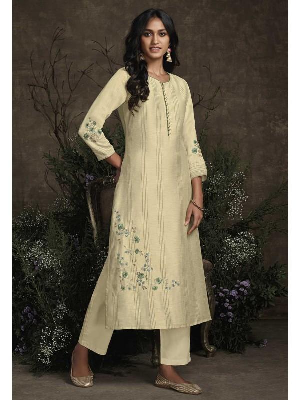Cream Colour Indian Designer Kurti.