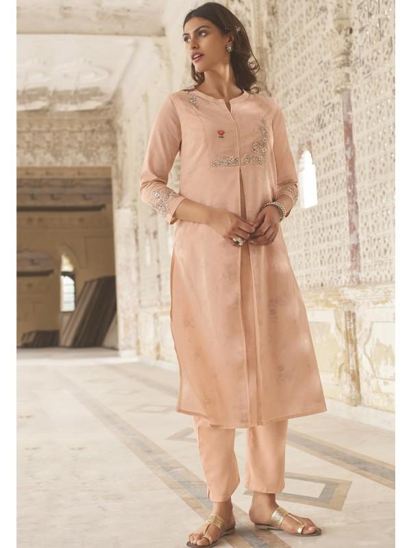 Pink Colour Linen,Cotton Designer Kurti.