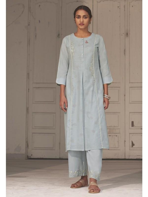 Sky Blue Colour Cotton Designer Kurti.