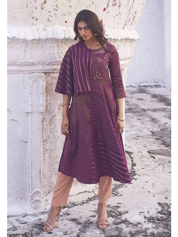 Purple Colour Party Wear Kurti.