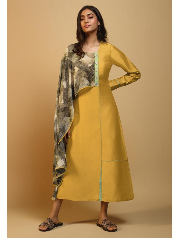 Yellow Colour Silk Party Wear Kurti.