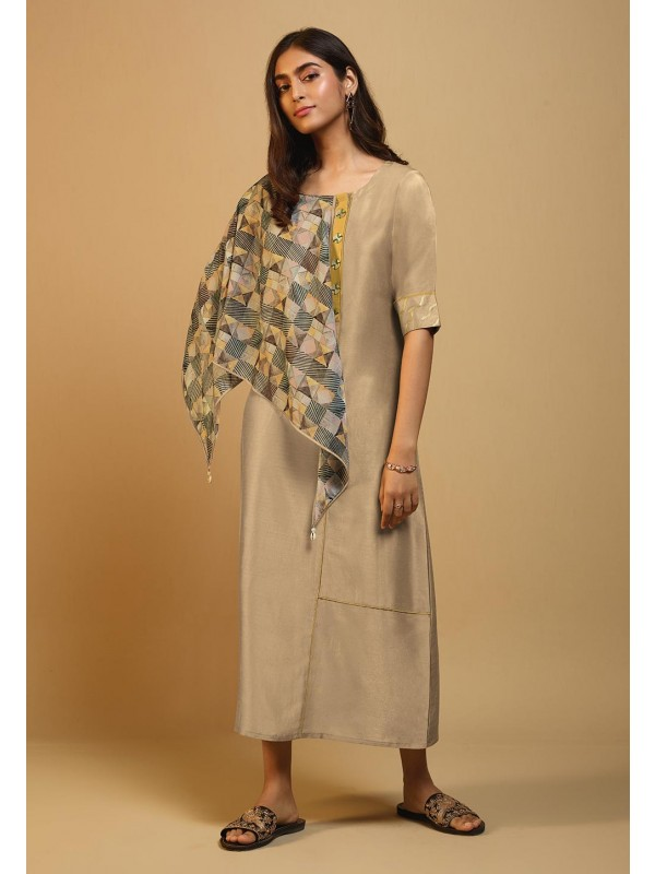 Grey Colour Long Readymade Kurti.