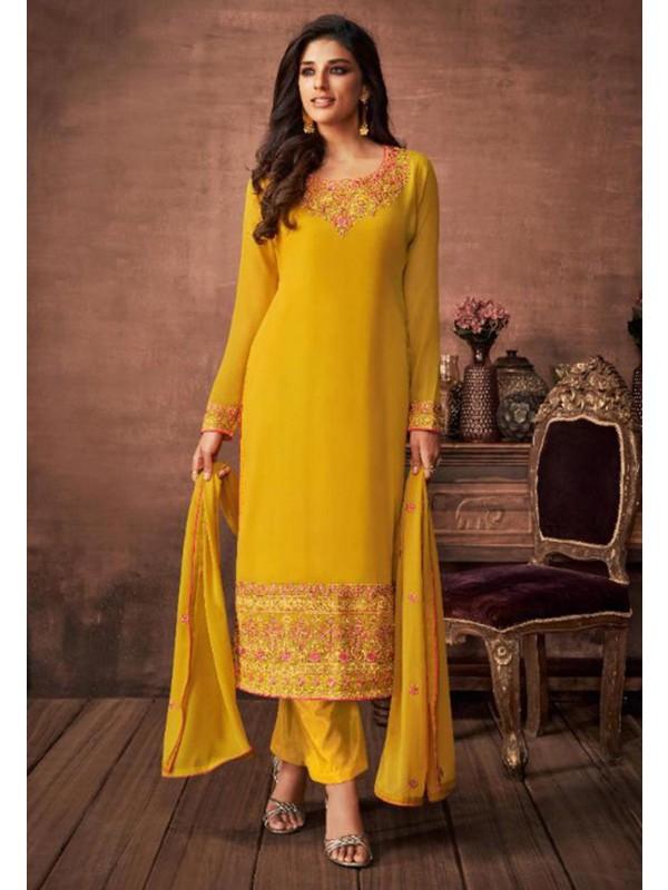 Yellow Colour Designer Salwar Suit.