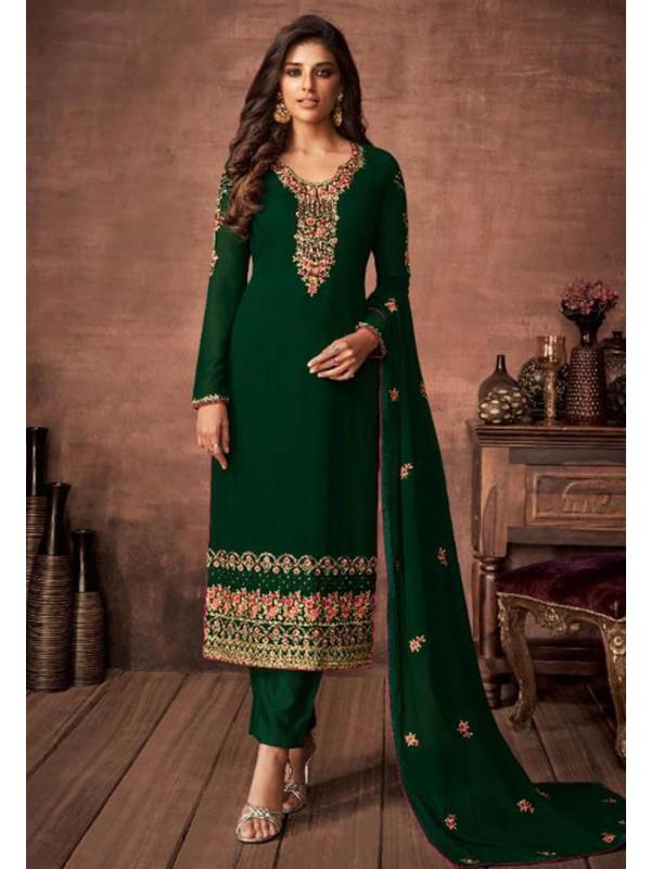 Indian Designer Salwar Kameez Green Colour.