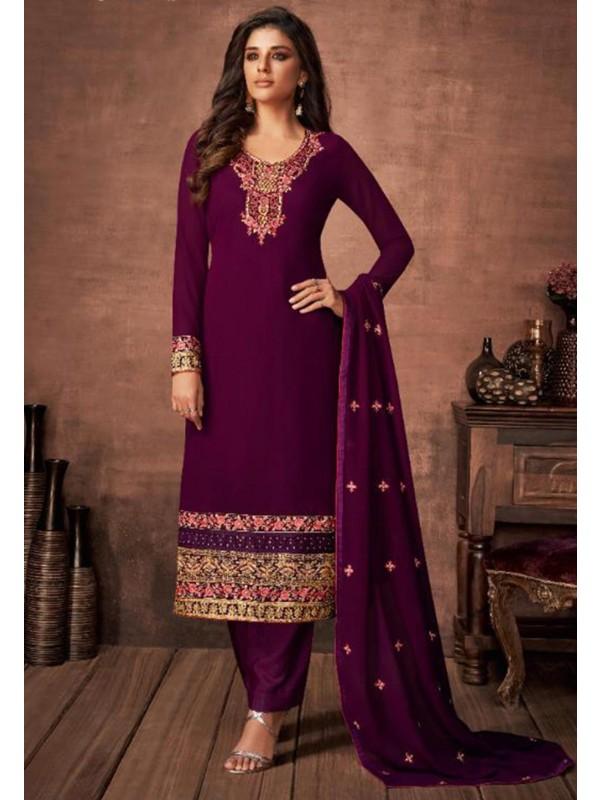 Purple Colour Party Wear Salwar Suit.