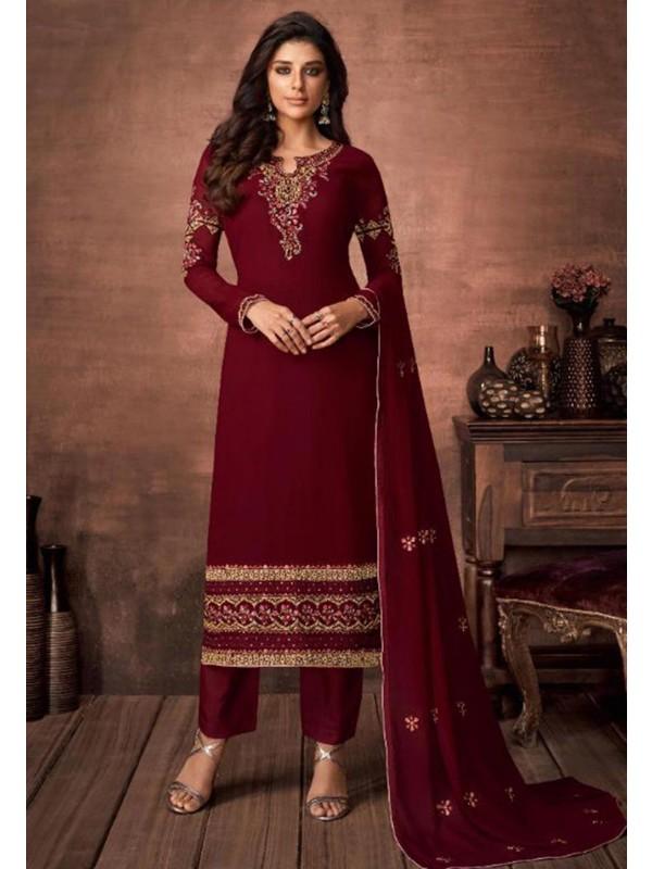 Designer Salwar Suit Maroon Colour.