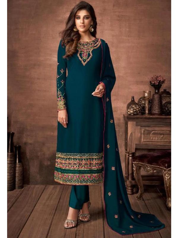 Rama Green Colour Women Salwar Suit.