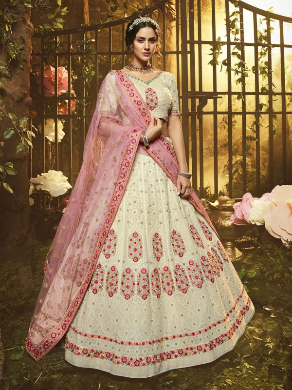 White Colour Georgette Fabric Lehenga Choli.