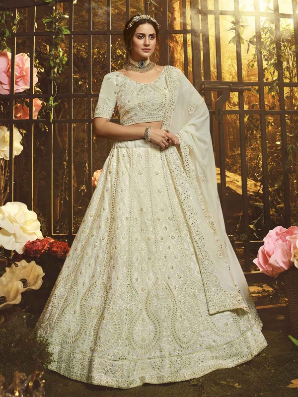 White Colour Georgette Lehenga Choli.