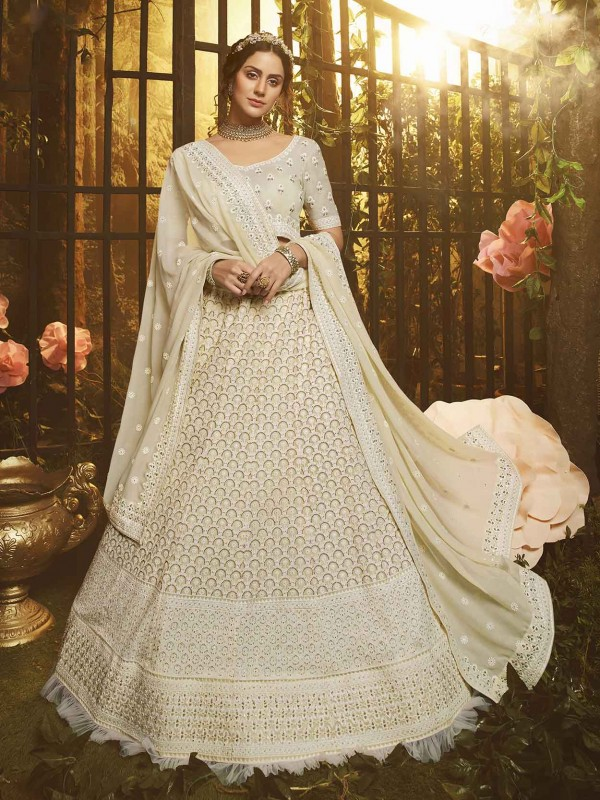 White Lehenga Choli in Georgette With Thread,Moti,Zari Work.