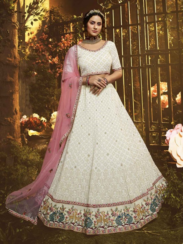 White Lehenga Choli in Thread,Zari,Moti Work.