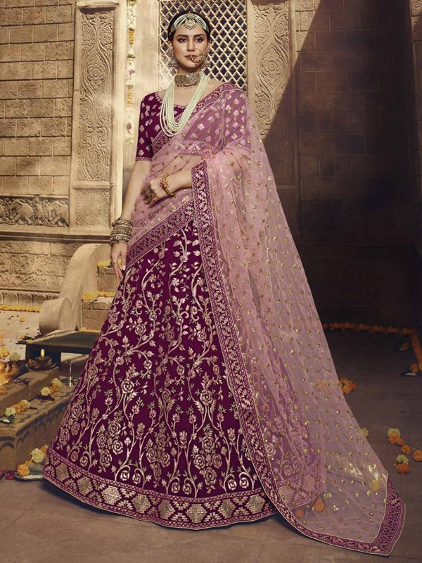 Georgette Lehenga Choli in Wine With Thread,Zari,Sequin Work.