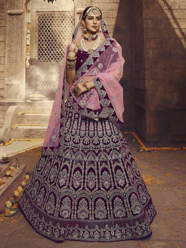 Wine Colour in Velvet Fabric Designer Lehenga With Thread,Zari,Sequin Work.