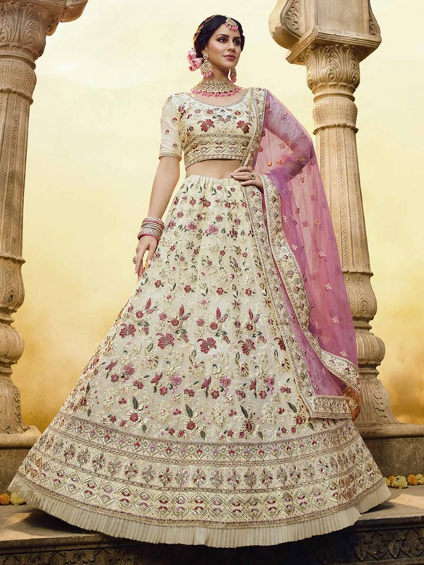 Off White Colour With Georgette Fabric Wedding Lehenga.