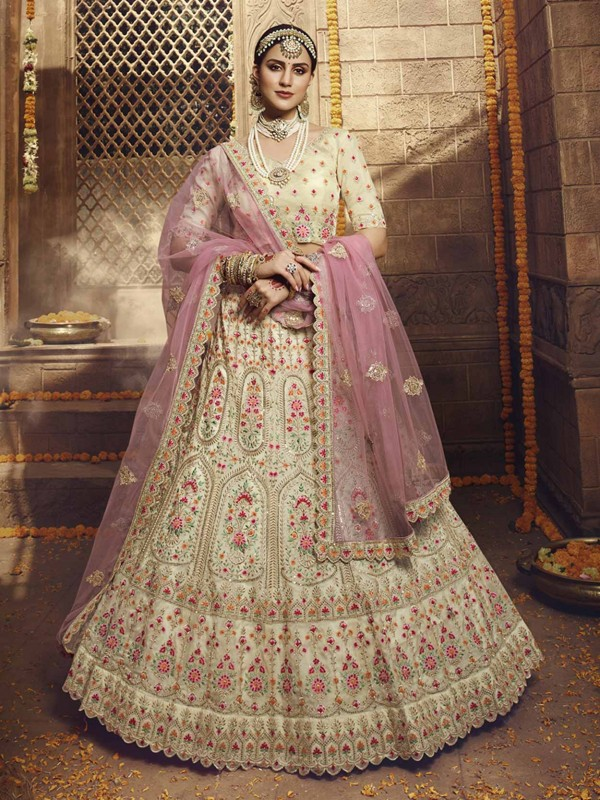Cream Colour Organza Fabric Wedding Lehenga.