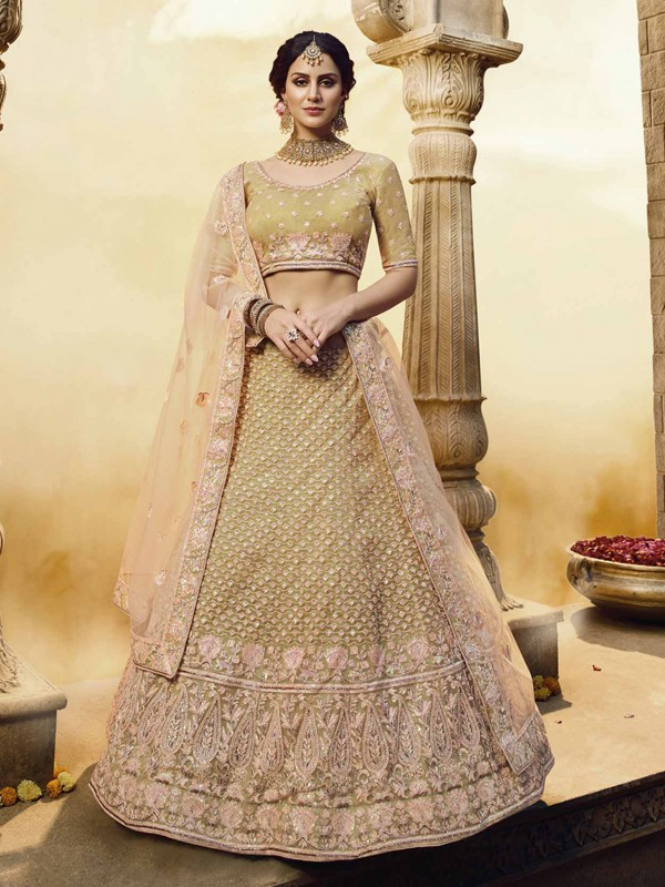 Golden Colour Net,Silk Women's Lehenga Choli.
