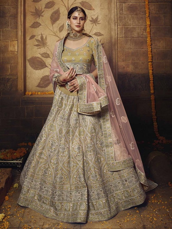 Net,Silk Lehenga in Golden Colour With Thread,Sequin Work.
