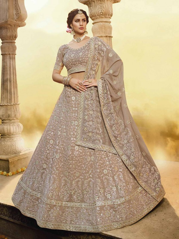 Light Brown Colour Georgette Lehenga Choli.