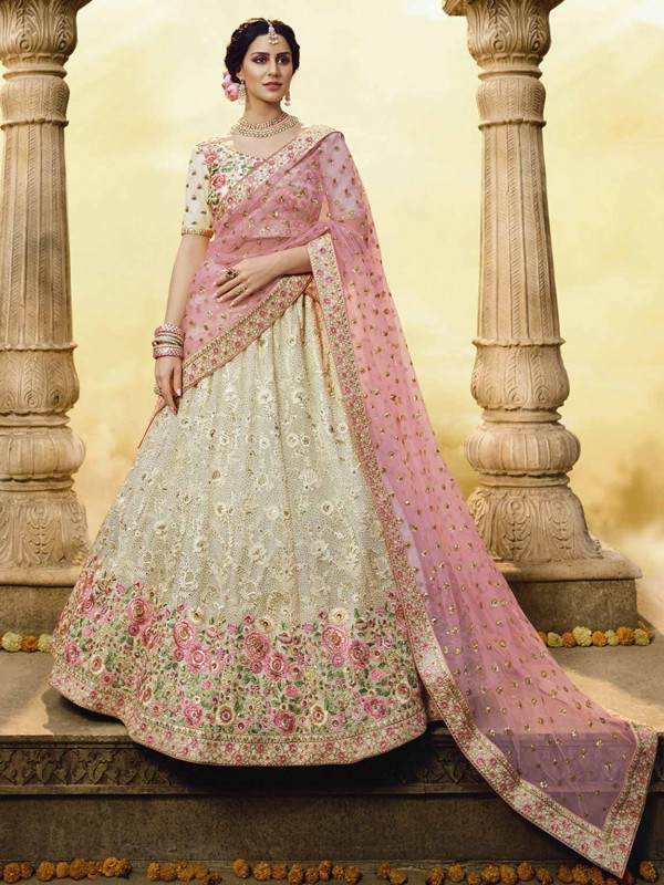 White Colour Georgette Fabric Designer Lehenga Choli.