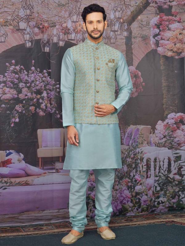 Pista Green Colour Banarasi Silk Kurta Pajama Jacket.