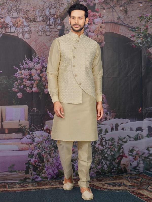 Beige Colour Banarasi Silk Readymade Kurta Pajama Jacket.