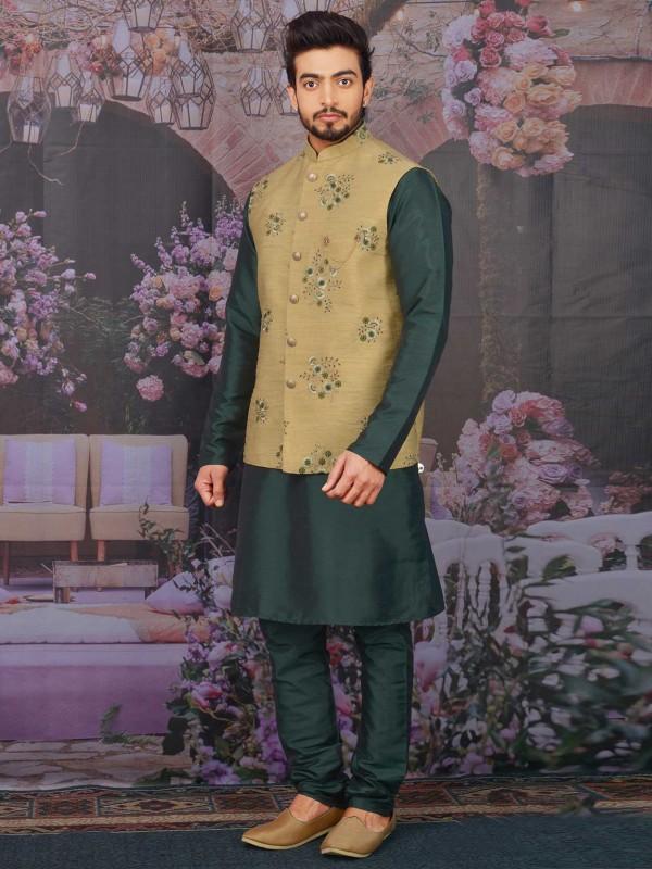 Banarasi Silk Designer Kurta Pajama Jacket.