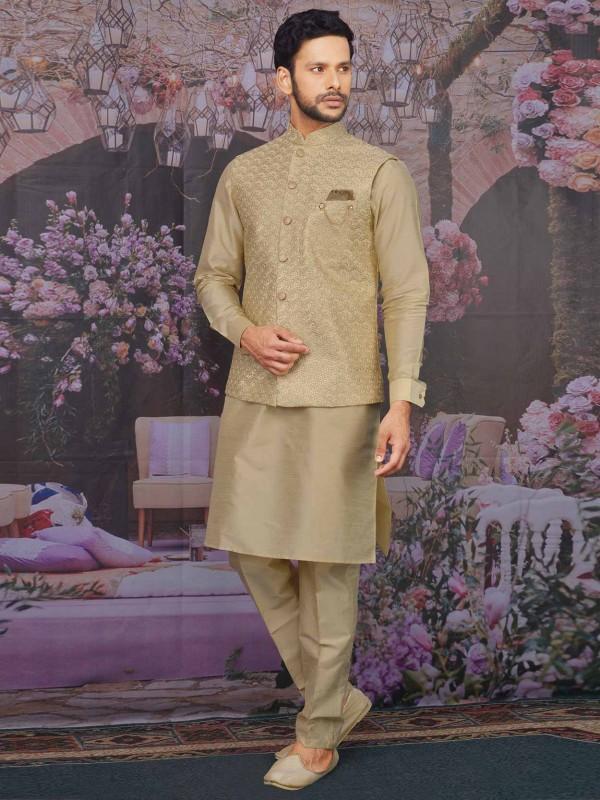 Beige In Banarasi Silk Kurta Pajama Jacket.