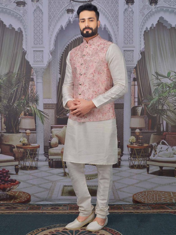 Pink,Cream Colour Banarasi Silk Kurta Pajama.