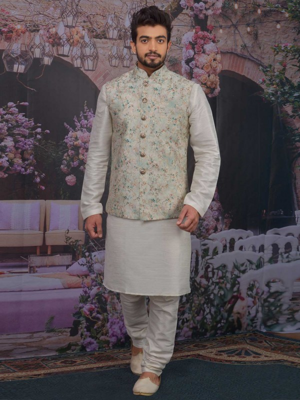Sea Green,Cream Colour Banarasi Silk Men's Kurta Pajama.