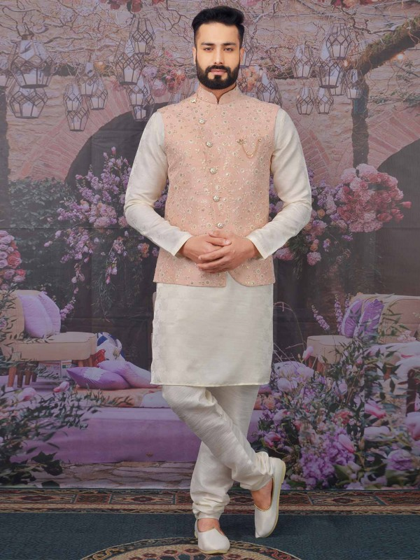 Men's Kurta Pajama Peach,Cream Color in Banarasi Silk Fabric.