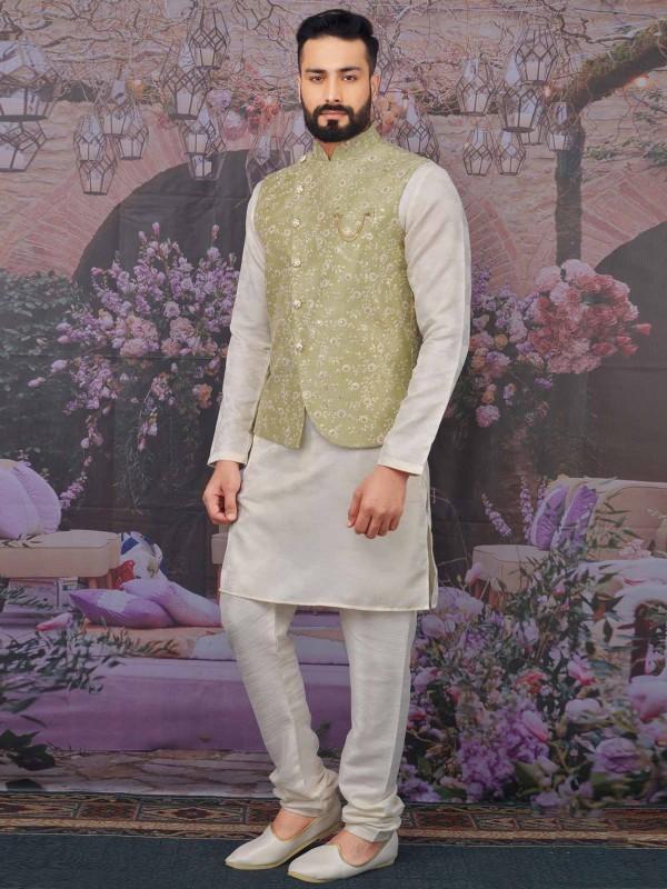 Pista Green,Cream Colour Designer Kurta Pajama.
