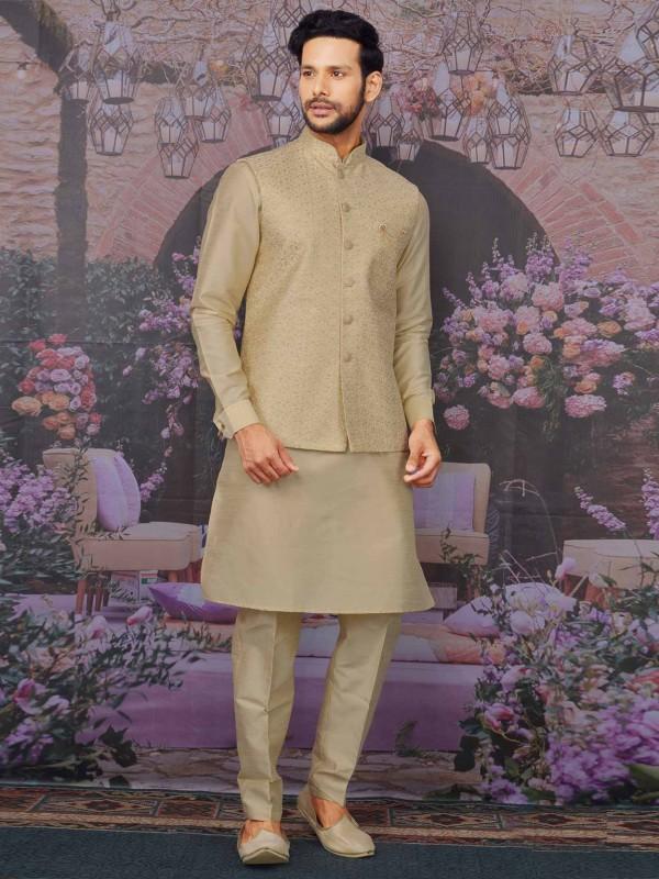Beige Colour Banarasi Silk Kurta Pajama Jacket.