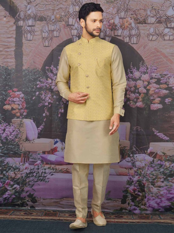 Banarasi Silk Fabric Yellow,Beige Men's Kurta Pajama Jacket.