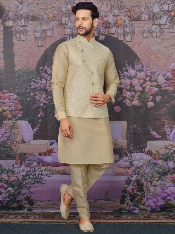 Cream,Beige in Banarasi Silk Kurta Pajama Jacket.
