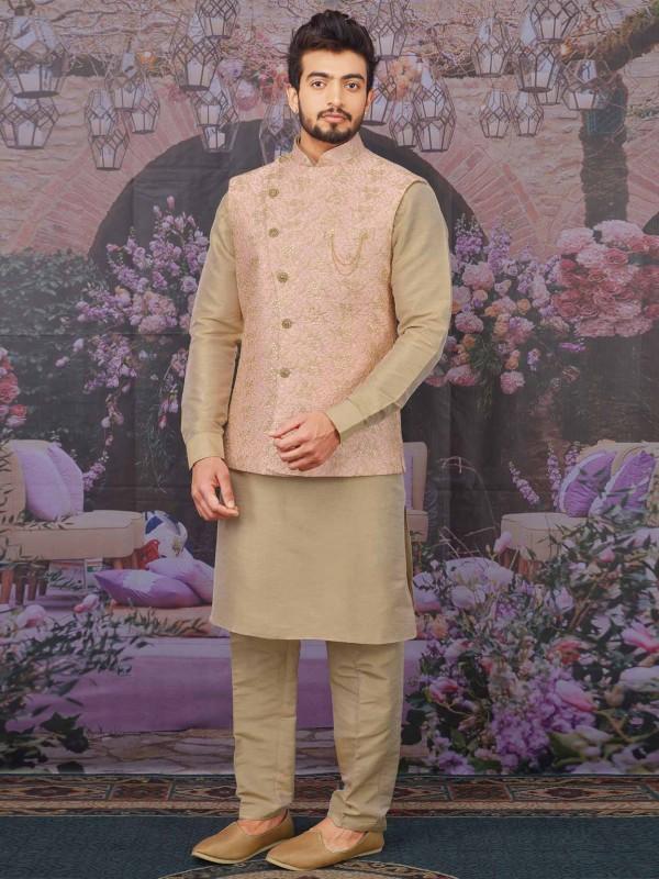 Indian Designer Kurta Pajama Peach,Beige Colour.