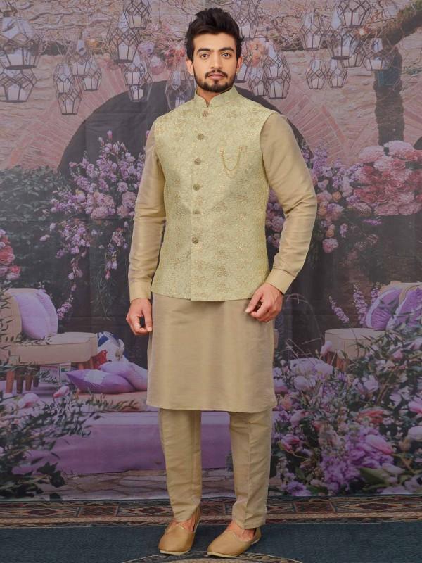 Pista Green,Beige Colour Banarasi Silk Kurta Pajama Jacket.